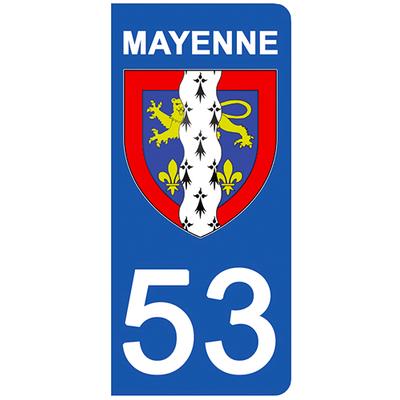 2 stickers pour plaque d'immatriculation pour Auto, 53 blason de Mayenne