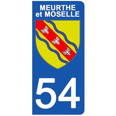 2 stickers pour plaque d'immatriculation pour Auto, 54 blason de Meurthe et Moselle