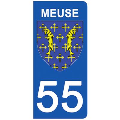 2 stickers pour plaque d'immatriculation pour Auto, 55 blason de la Meuse