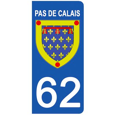 2 stickers pour plaque d'immatriculation pour Auto, 62 blason du Pas de Calais