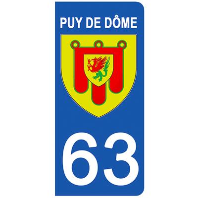 2 stickers pour plaque d'immatriculation pour Auto, 63 blason du Puy de Dome