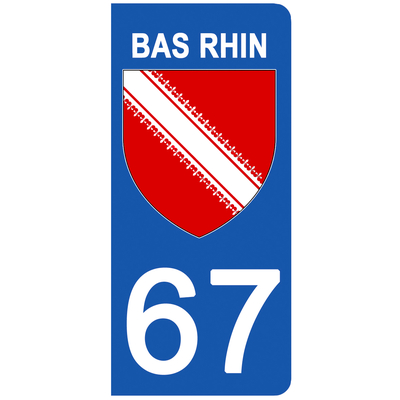 2 stickers pour plaque d'immatriculation pour Auto, 67 blason du Bas Rhin