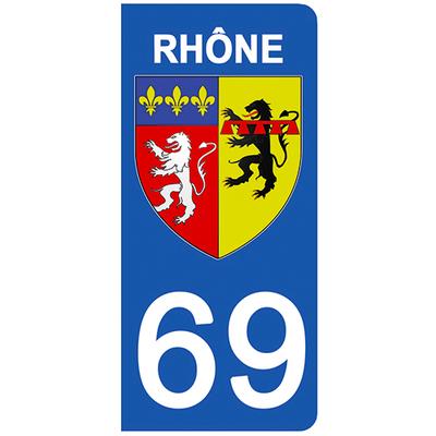 2 stickers pour plaque d'immatriculation pour Auto, 69 blason du Rhône