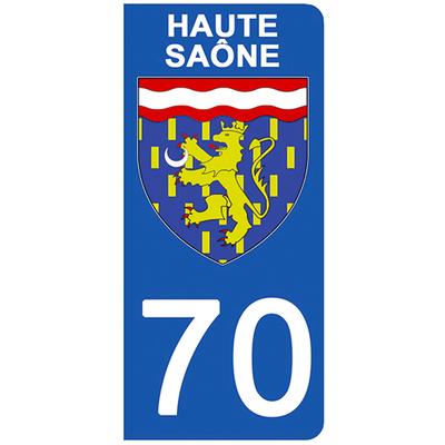2 stickers pour plaque d'immatriculation pour Auto, 70 blason de Haute Saône
