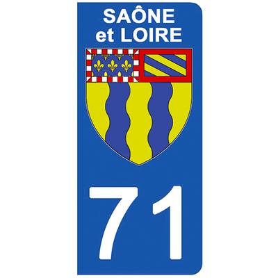 2 stickers pour plaque d'immatriculation pour Auto, 71 blason de Saône et Loire