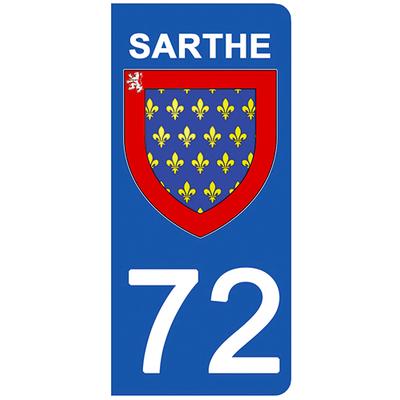2 stickers pour plaque d'immatriculation pour Auto, 72 blason de la Sarthe