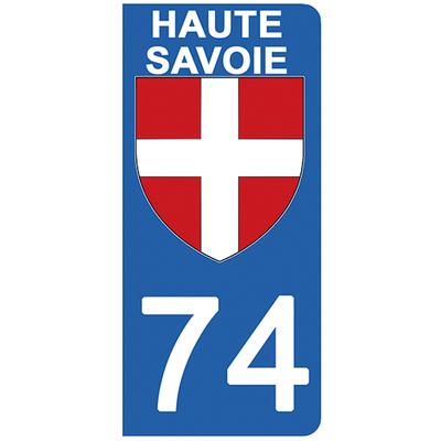 2 stickers pour plaque d'immatriculation pour Auto, 74 blason de Haute Savoie