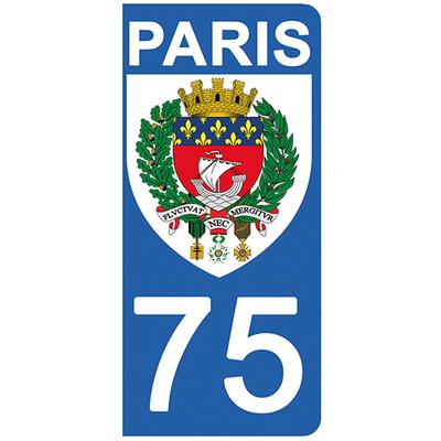 2 stickers pour plaque d'immatriculation pour Auto, 75 blason de PARIS
