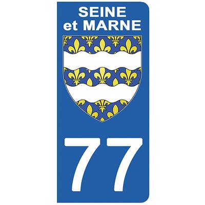 2 stickers pour plaque d'immatriculation pour Auto, 77 blason de Seine et Marne