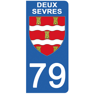 2 stickers pour plaque d'immatriculation pour Auto, 79 blason des Deux Sévres