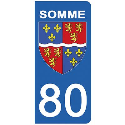2 stickers pour plaque d'immatriculation pour Auto, 80 blason de la Somme