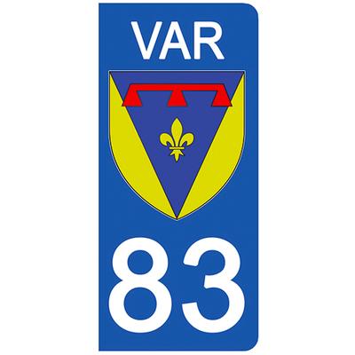 2 stickers pour plaque d'immatriculation pour Auto, 83 blason du Var