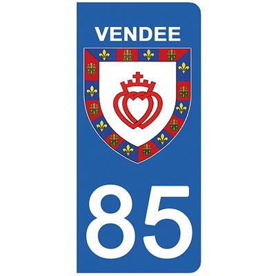 2 stickers pour plaque d'immatriculation pour Auto, 85 blason de la Vendée