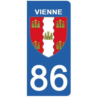 2 stickers pour plaque d'immatriculation pour Auto, 86 blason de la Vienne