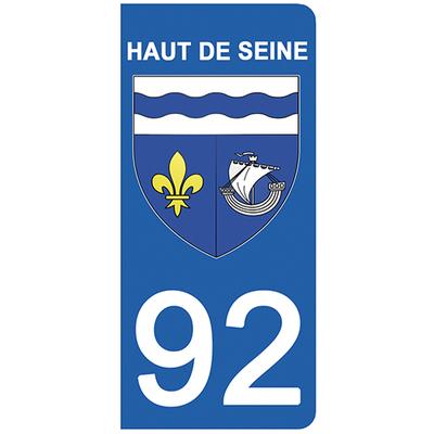 2 stickers pour plaque d'immatriculation pour Auto, 92 blason des Hauts de Seine