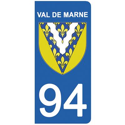 2 stickers pour plaque d'immatriculation pour Auto, 94 blason du Val de Marne