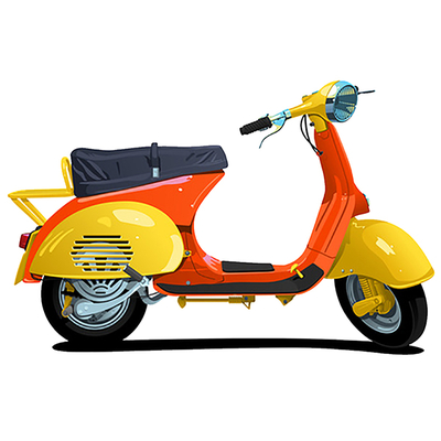 Sticker Vespa orange, H. 8cm