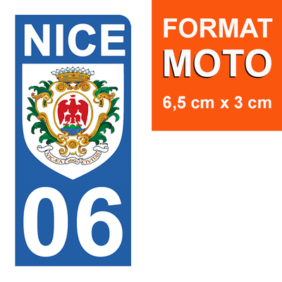 1 sticker pour plaque d'immatriculation MOTO , Nice 06