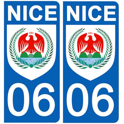 2 stickers pour plaque d'immatriculation pour Auto, 06 Nice, Flat Blason