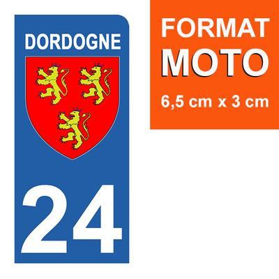 1 sticker pour plaque d'immatriculation MOTO , 24 Dordogne