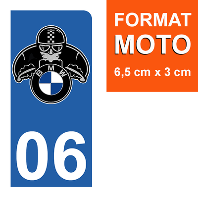 1 sticker pour plaque d'immatriculation MOTO , 06 Alpes Maritime, BMW