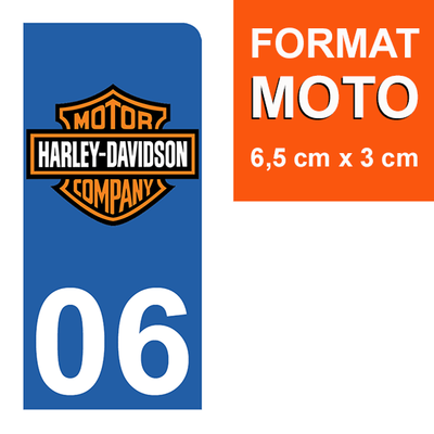 1 sticker pour plaque d'immatriculation MOTO , 06 Alpes Maritime, Harley Davidson
