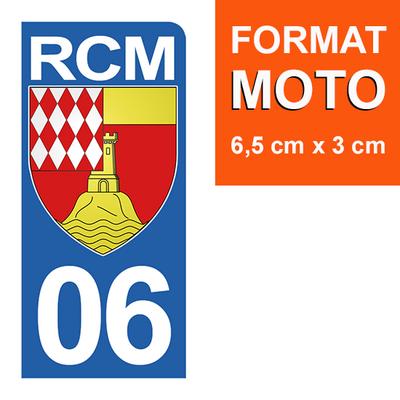 1 sticker pour plaque d'immatriculation MOTO , 06, Roquebrune Cap Martin