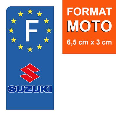 1 sticker pour plaque d'immatriculation MOTO, SUZUKI