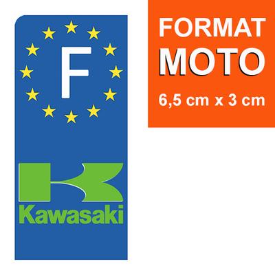 1 sticker pour plaque d'immatriculation MOTO, KAWASAKI