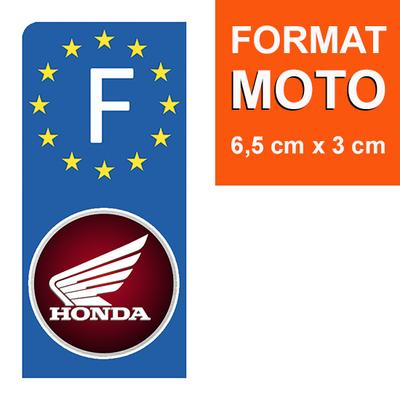 1 sticker pour plaque d'immatriculation MOTO, HONDA