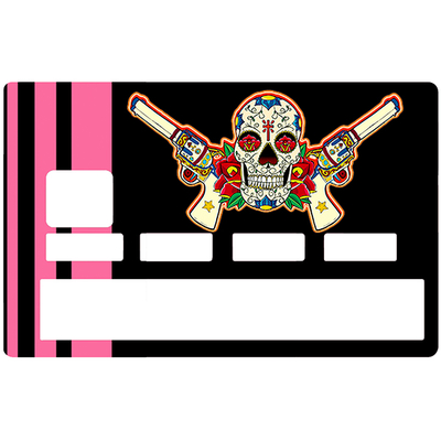 Sticker pour carte bancaire, Catarina Calavera, la santa muorte, black & pink, créé par le DgedeNice