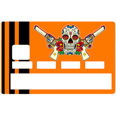 Sticker pour carte bancaire, Catarina Calavera, la santa muorte, Orange & Black
