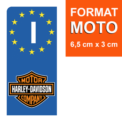 1 sticker pour plaque d'immatriculation MOTO, Italie, HARLEY DAVIDSON