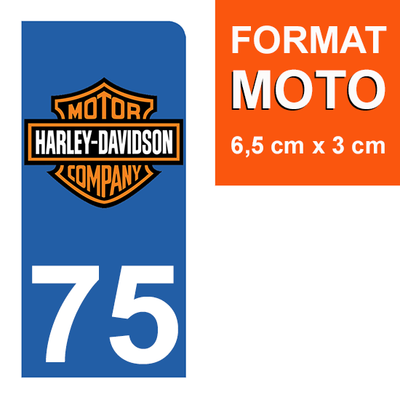 1 sticker pour plaque d'immatriculation MOTO , 75 Paris, Harley Davidson