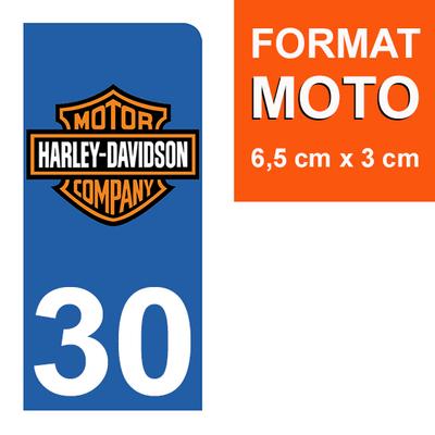 1 sticker pour plaque d'immatriculation MOTO , 30 Gard, Harley Davidson
