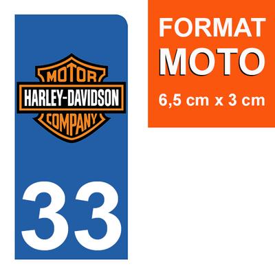1 sticker pour plaque d'immatriculation MOTO , 33 Gironde, Harley Davidson