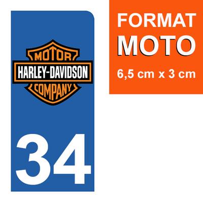 1 sticker pour plaque d'immatriculation MOTO , 34 Herault, Harley Davidson