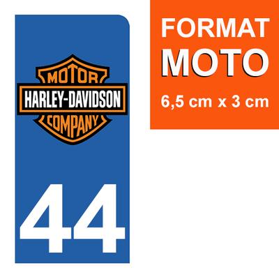 1 sticker pour plaque d'immatriculation MOTO , 44 Loire-Atlantique, Harley Davidson