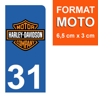 1 sticker pour plaque d'immatriculation MOTO , 31 Haute Garonne, Harley Davidson