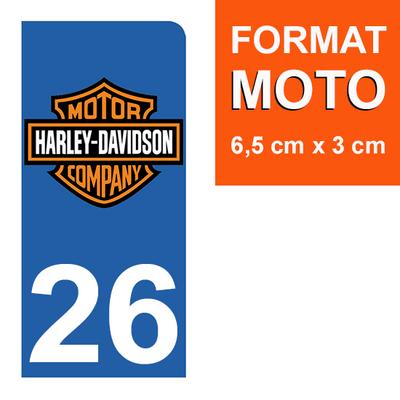 1 sticker pour plaque d'immatriculation MOTO , 26 Drôme, Harley Davidson