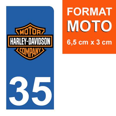 1 sticker pour plaque d'immatriculation MOTO , 35 ILLE-ET-VILAINE, Harley Davidson