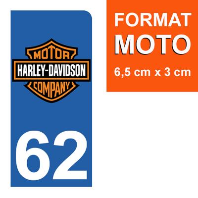 1 sticker pour plaque d'immatriculation MOTO , 62 pas de Calais, Harley Davidson