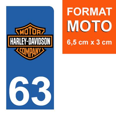 1 sticker pour plaque d'immatriculation MOTO , 63 Puy-de-Dôme, Harley Davidson