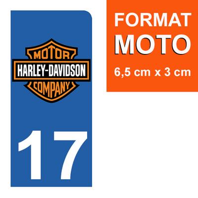 1 sticker pour plaque d'immatriculation MOTO , 17 charente maritime, Harley Davidson