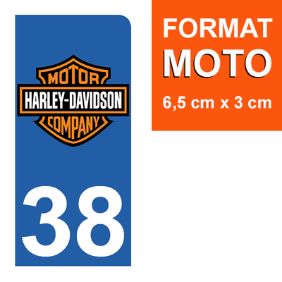 1 sticker pour plaque d'immatriculation MOTO , 38 isère, Harley Davidson