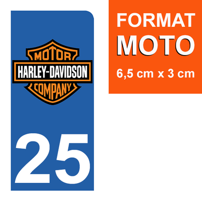 1 sticker pour plaque d'immatriculation MOTO , 25 Doubs, Harley Davidson