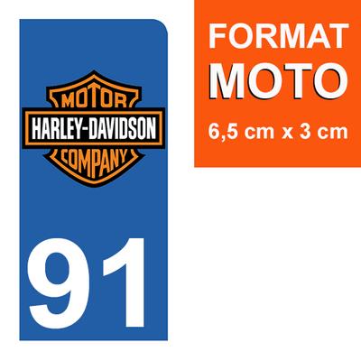 1 sticker pour plaque d'immatriculation MOTO , 91 Essonne, Harley Davidson