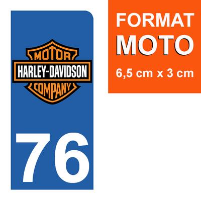 1 sticker pour plaque d'immatriculation MOTO , 76 Seine-Maritime, Harley Davidson