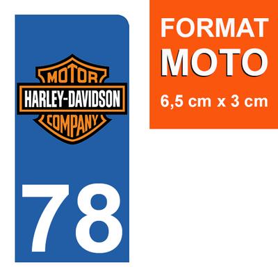 1 sticker pour plaque d'immatriculation MOTO , 78 Yvelines, Harley Davidson