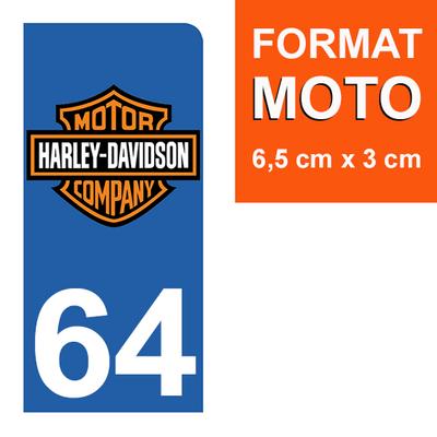 1 sticker pour plaque d'immatriculation MOTO , 64 Pyrénées-Atlantiques, Harley Davidson